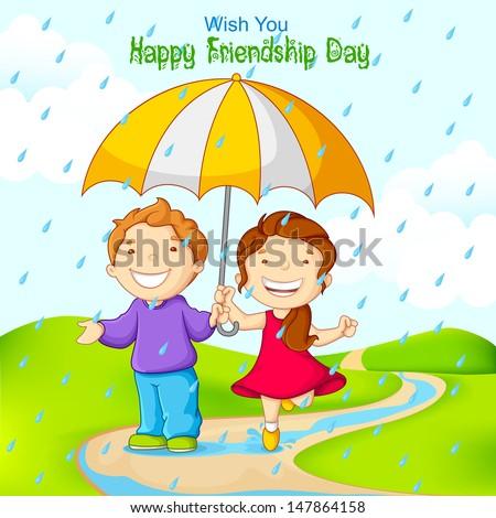 vector illustration of friend celebrating Friendship Day in rain - stock vector