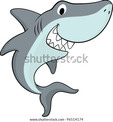 vector illustration of friendly shark isolated on white background - stock vector