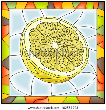 Vector illustration of fruit half of yellow lemon stained glass window with frame.