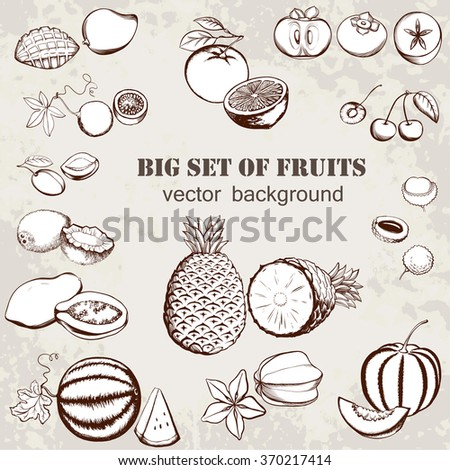 Vector illustration of fruits collection in vintage style. Isolated objects on an grange background. Ideal for restaurant menus and store vegetables. - stock vector