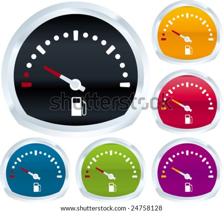Vector illustration of fuel gauge in assorted colors.