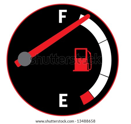 Vector illustration of fuel tank gauge on car dashboard - stock vector