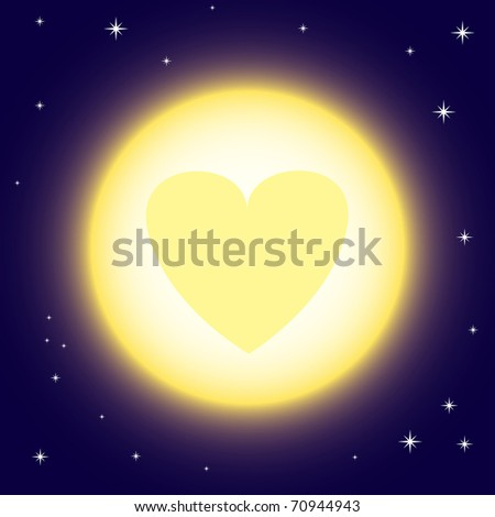 Vector illustration of full moon with heart sign - stock vector