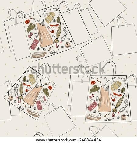 Vector illustration of full shopping paper bag - stock vector