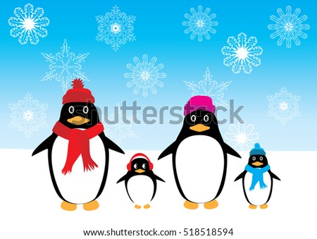 vector illustration of fun penguin family Christmas background