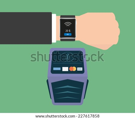 Vector illustration of functionality electronic intelligence wristwatch for payment - stock vector
