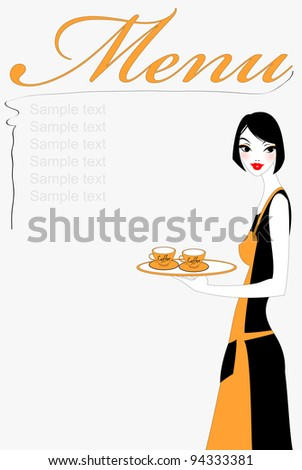 Vector illustration of funky beautiful waitress serving two cups of coffee. Service and restaurant concept. - stock vector
