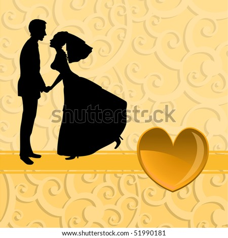 Vector illustration of funky bride and groom on the swirl background. Ideal for wedding invitation