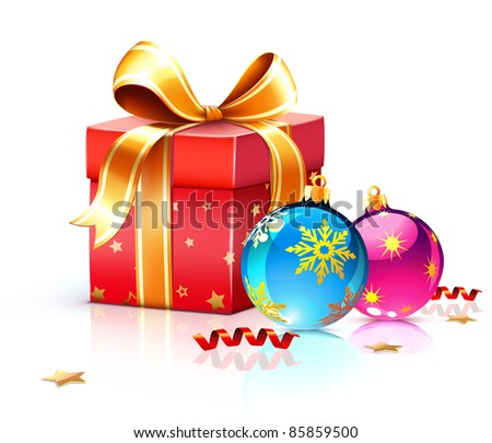 Vector illustration of funky gift box and cool Christmas decorations - stock vector