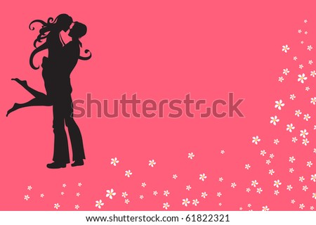 Vector illustration of funky invitation with cool young sexy couple - stock vector