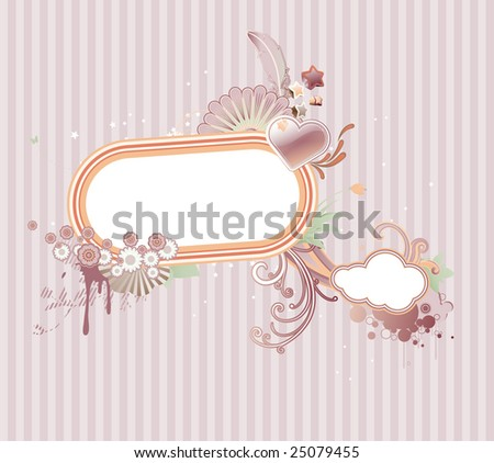 Vector illustration of funky styled design frame made of floral elements