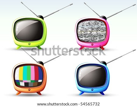 Vector illustration of funky styled design of cute television - stock vector