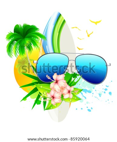 Vector illustration of funky summer  background with palm trees, hibiscus flowers, surfboard and funky sunglasses - stock vector