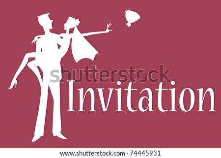 Vector illustration of funky wedding invitation with cool sexy bride and groom - stock vector