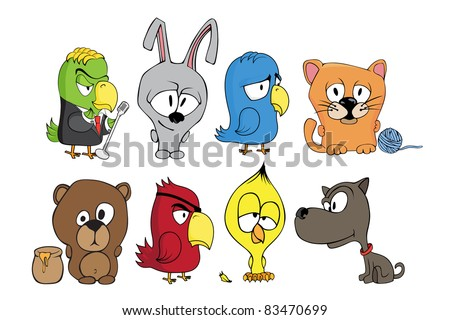 Vector illustration of funny cartoon character - stock vector