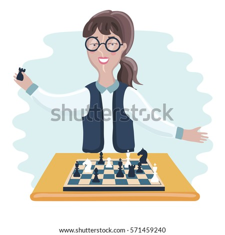Vector illustration of funny cartoon smiling young clever woman with glasses playing chess