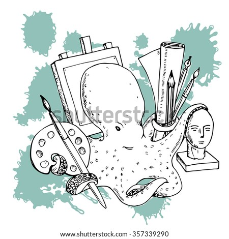 Vector illustration of funny character octopus artist with art materials and spray. hand drawn graphic sketch - stock vector