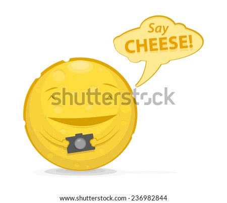 Vector illustration of funny cheese with photo camera and speech bubble  - stock vector