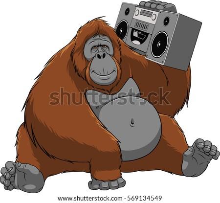vector illustration funny monkey orangutan enjoys stock vector rh shutterstock com orangutan clipart png clipart orangutan hanging