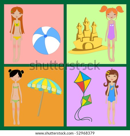 Vector Illustration of funny summer icons, decorated with little girls.