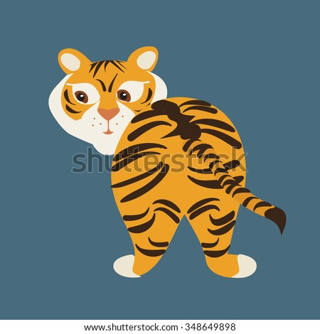 Vector illustration of funny tiger on blue background