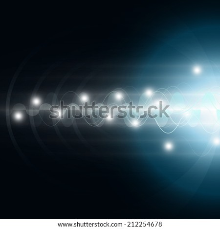 Vector illustration of futuristic blue abstract glowing background - stock vector