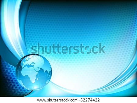 Vector illustration of  futuristic blue  abstract spotty background resembling motion blurred neon light curves with Glossy Earth Globe - stock vector