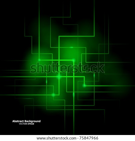 Vector illustration of futuristic green abstract glowing background - stock vector