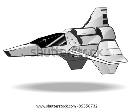 vector illustration of futuristic spaceship - stock vector