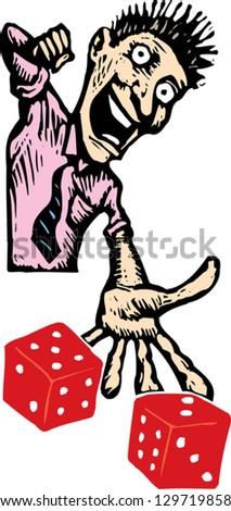 Vector illustration of gambler throwing dice - stock vector