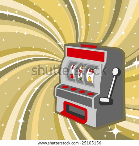 Vector illustration of gambling machine on the beautiful shiny background - stock vector