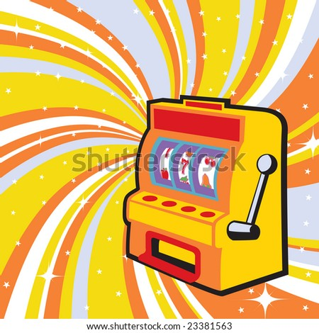 Vector illustration of gambling machine on the beautifull shiny background - stock vector