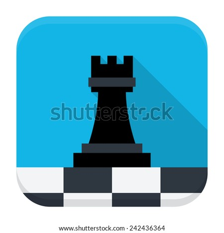 Vector illustration of game chess. Flat app square icon with long shadow. - stock vector