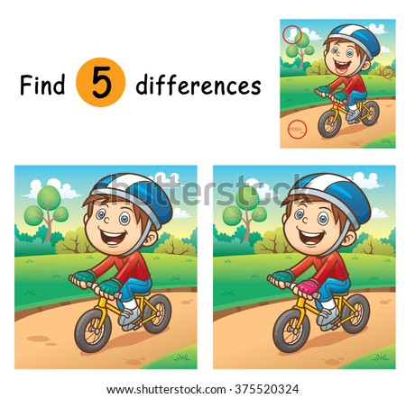 Vector Illustration of Game for children find differences - Boy on a bicycle