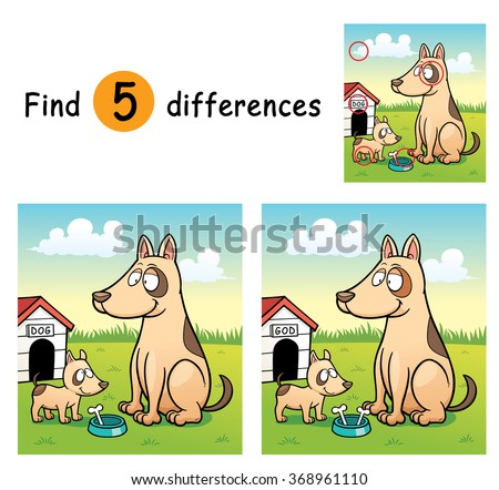 Vector Illustration of Game for children find differences - Dogs