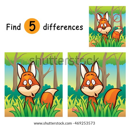 Vector Illustration of Game for children find differences - Fox