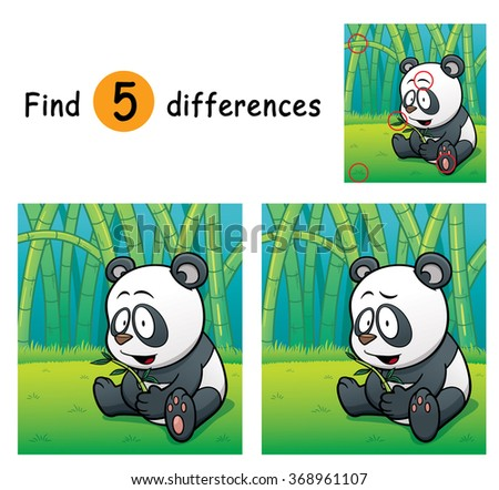 Vector Illustration of Game for children find differences - Panda
