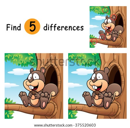 Vector Illustration of Game for children find differences - Squirrel
