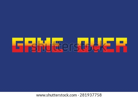 "Vector illustration of ""game over"" in retro pixel art style"