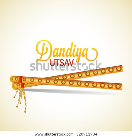 Vector Illustration of Garba Dancing Sticks with Happy Navratri text with effects for Navratri - stock vector