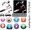 vector illustration of gas gauge and icons of petrol station - stock vector