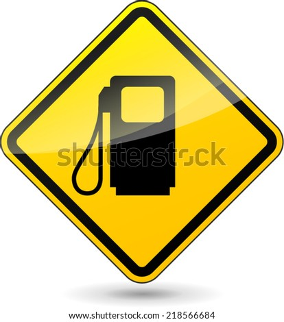 Vector illustration of gas oil yellow sign on white background - stock vector