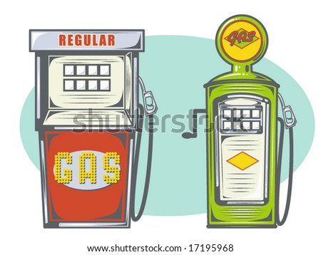 vector illustration of gas pumps - stock vector