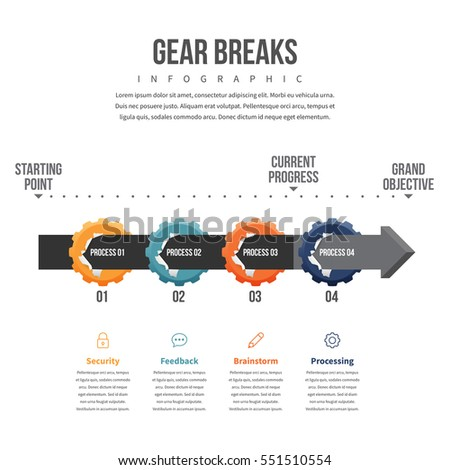 Vector illustration of gear breaks infographic design element.