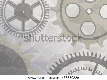 Vector illustration of gear wheel abstract background. Grey transparent banner with clockwork. Poligonal design.  EPS10. - stock vector