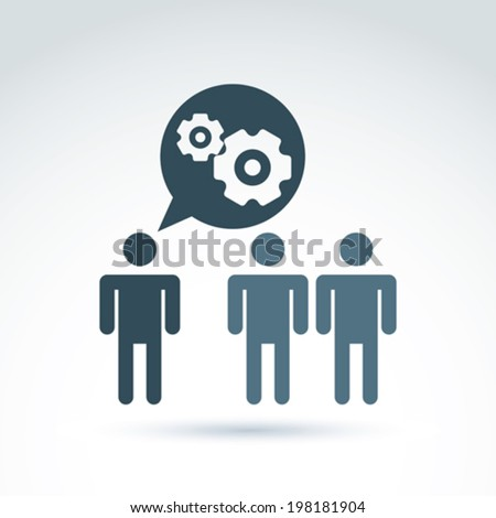 Vector illustration of gears - enterprise system theme, organization strategy concept. Cog-wheels and moving parts placed in a speech bubble �¢?? chat on business and management.