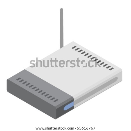 Vector illustration of generic cable modem - stock vector