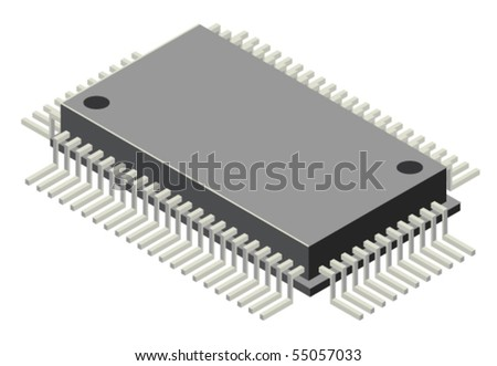 Vector illustration of generic computer microchip - stock vector