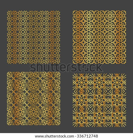 Vector Illustration of Geometric Arabic Seamless Pattern for Design, Website, Background, Banner. Islamic Element for Wallpaper or Textile. Gold ornament Texture Template - stock vector
