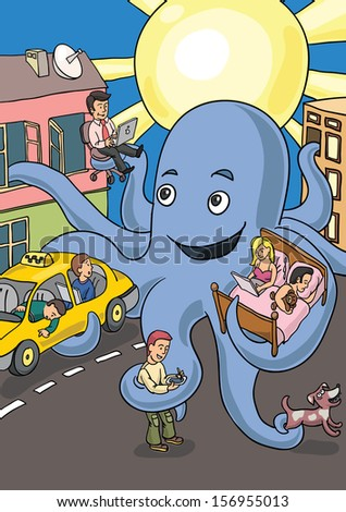 Vector illustration of giant octopus occupying the city